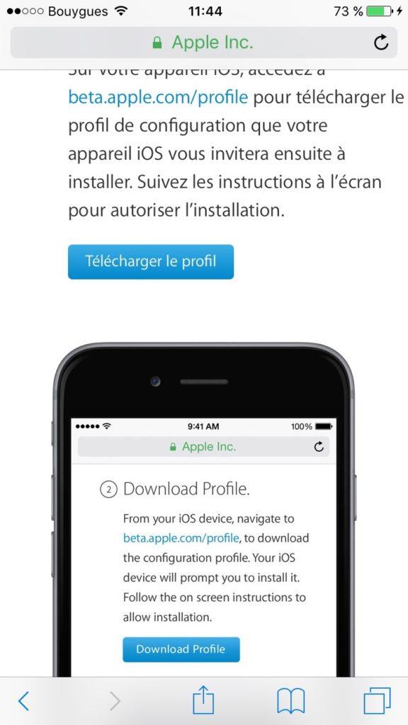 iOS 10 beta publique profil