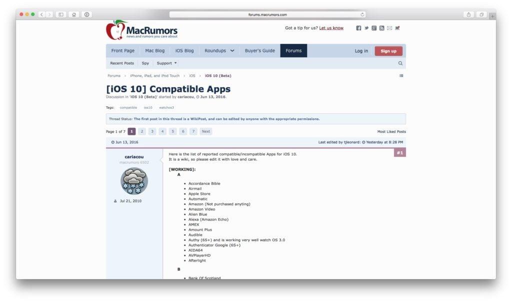 iOS 10 macrumors compatible apps