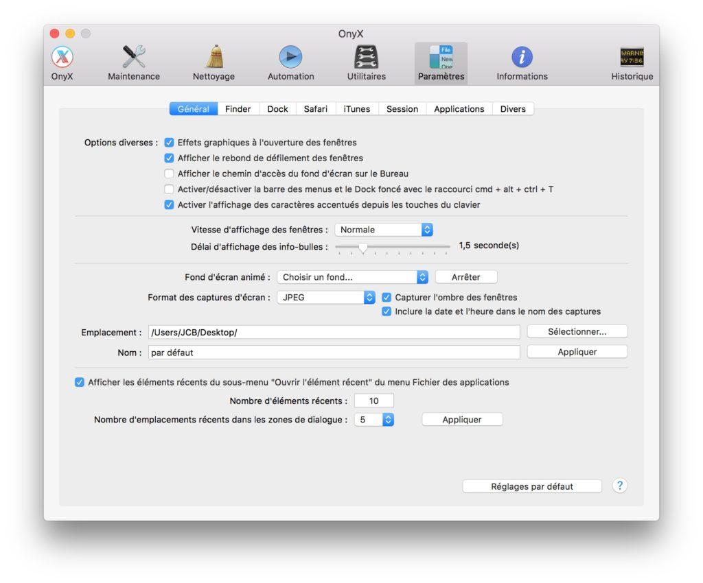 Capture d-ecran sur mac onyx
