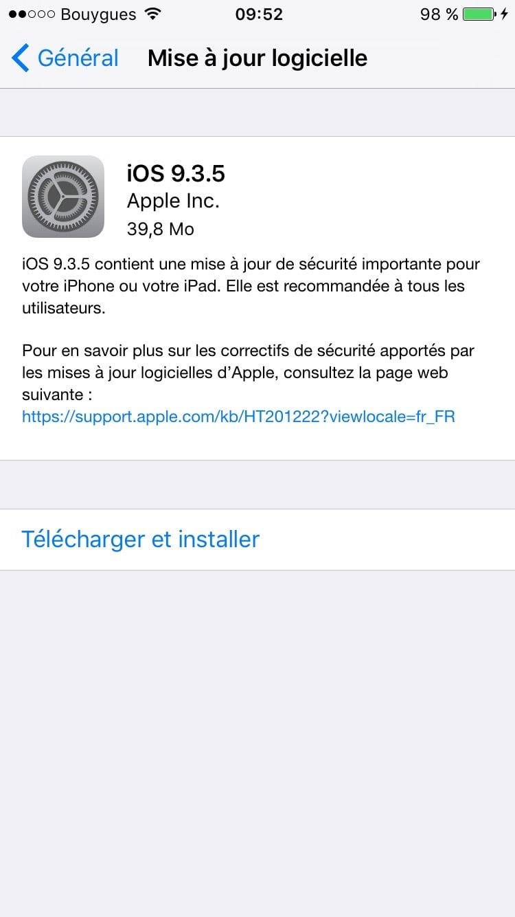 mise a jour iphone 4s 9.3.5