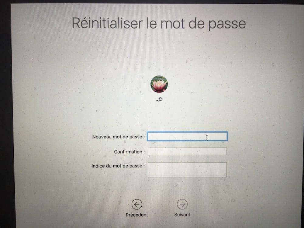 reinitialiser le mot de passe macos sierra nouveau password