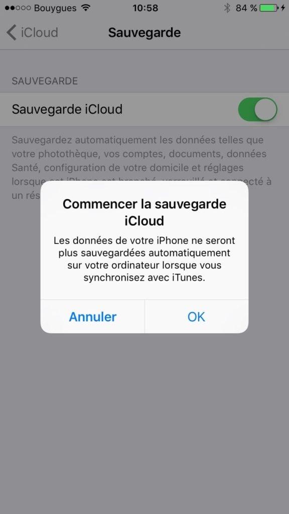Copier ses donnees vers un nouvel iPhone avec icloud