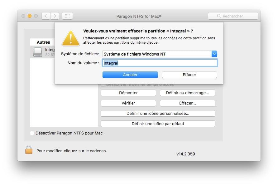 Formater en NTFS sur macOS Sierra systeme de fichier