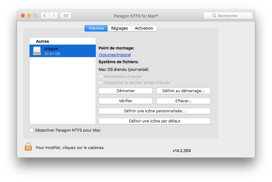 Formater en NTFS sur macOS Sierra volumes