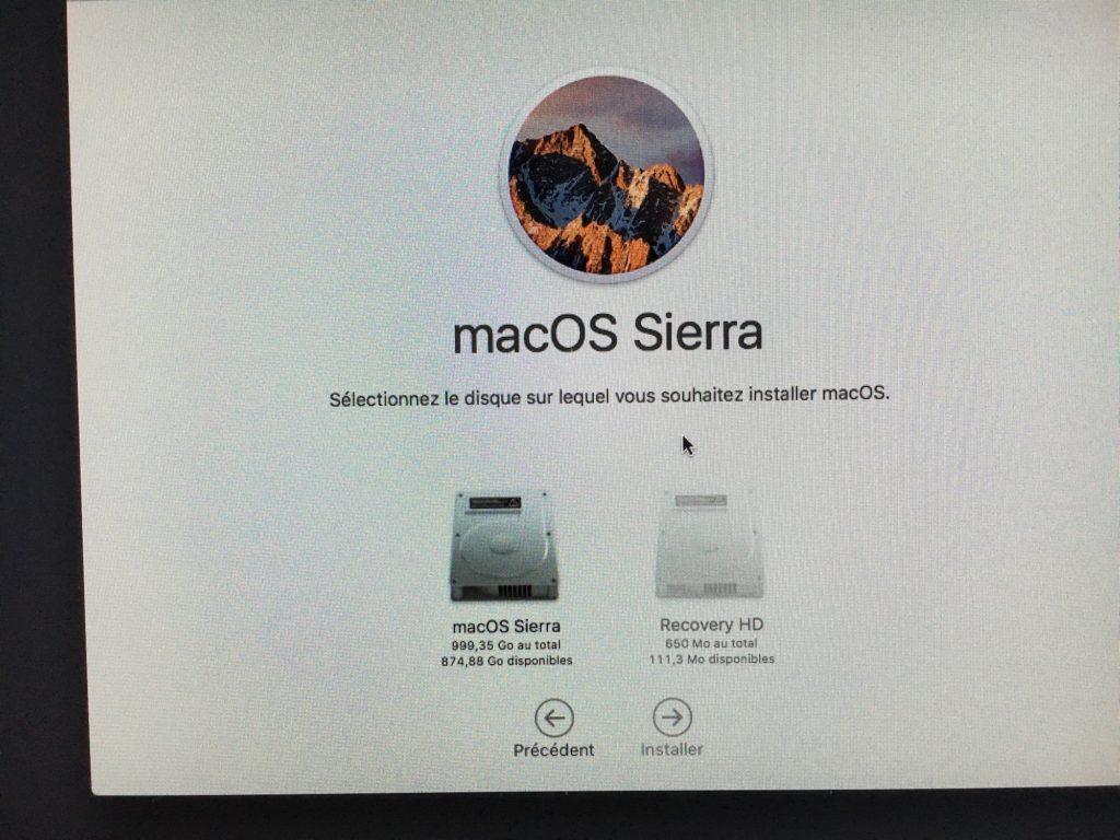 Reinstaller macOS Sierra sur ancienne partition