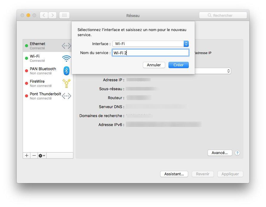 WiFi macOS Sierra nouveau service