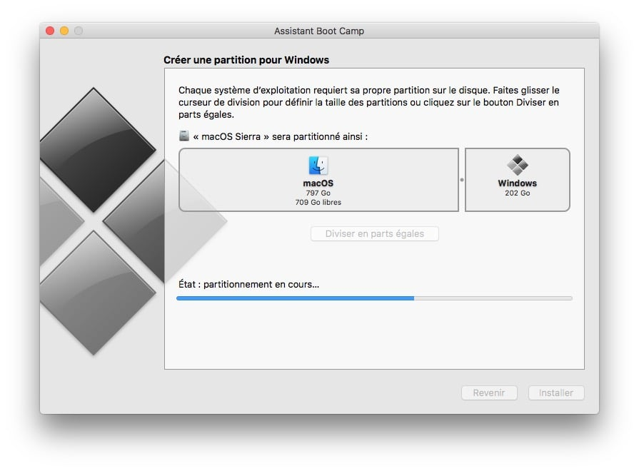 dual boot macOS Sierra Windows 10 partition en cours