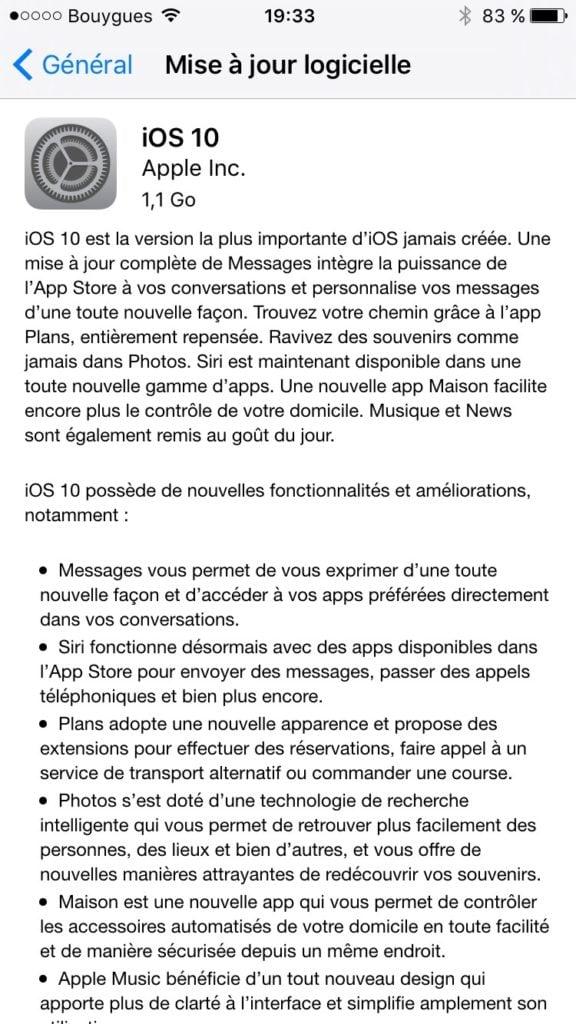 installation propre ios 10 iphone 6s 7