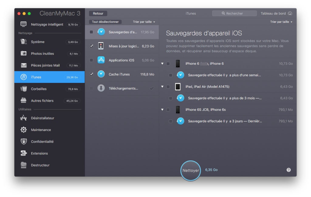 Optimiser macOS Sierra sauvegardes ios