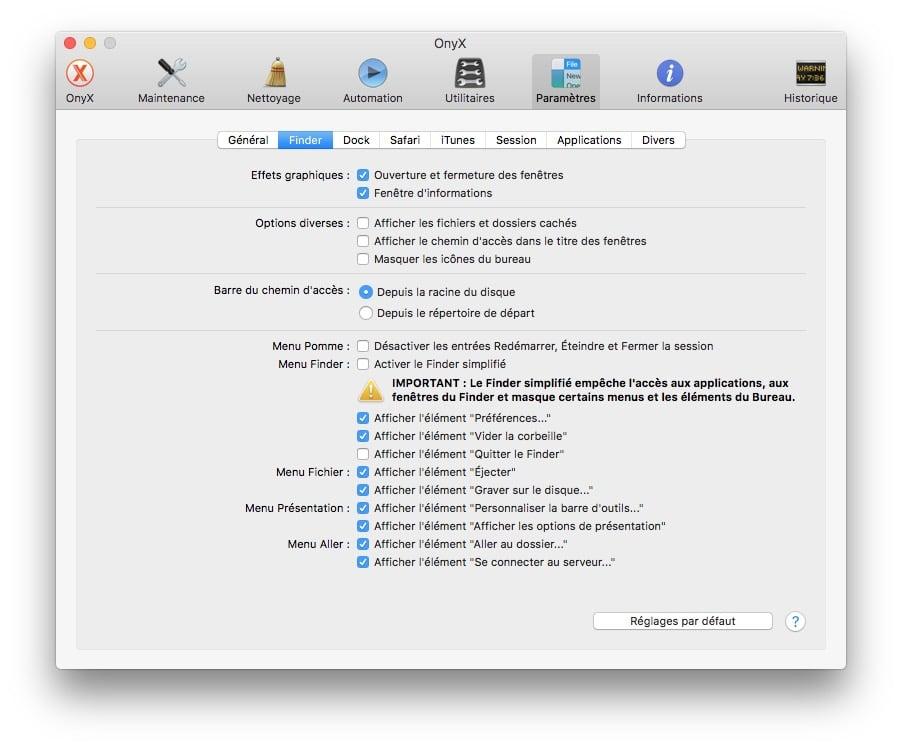 Onyx macOS Sierra afficher fichiers caches