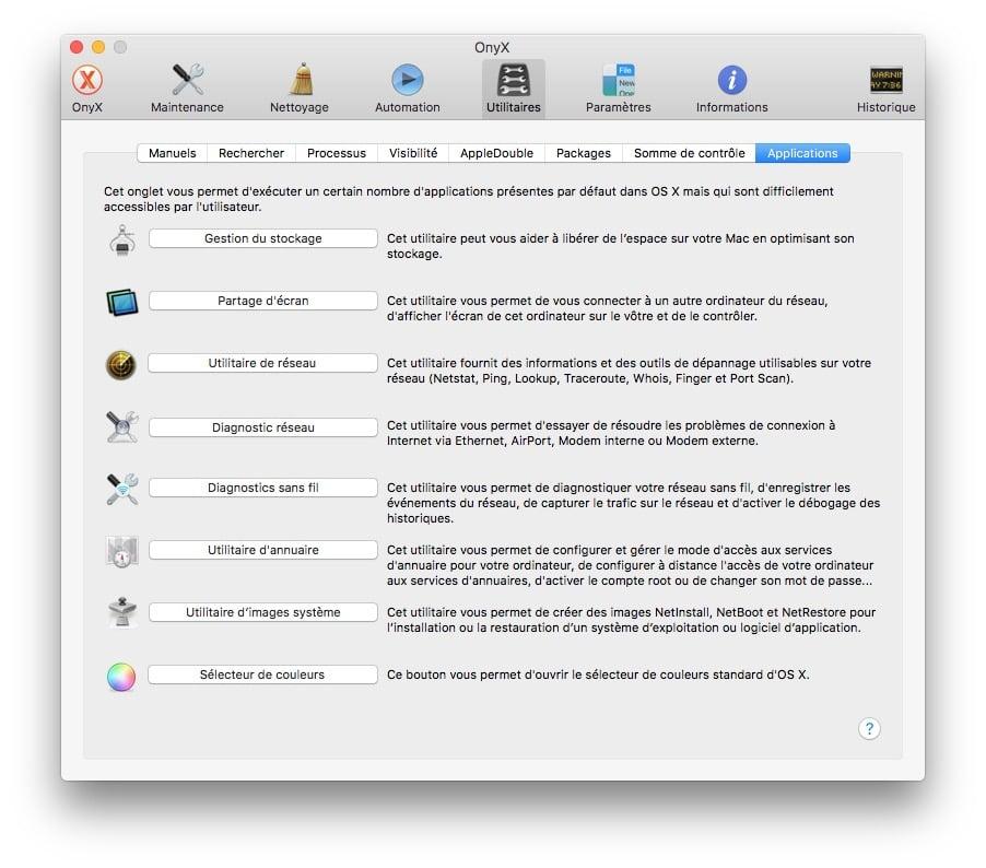 Onyx macOS Sierra applications