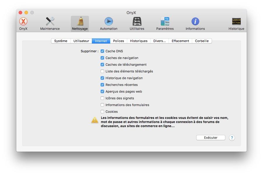 Onyx macOS Sierra internet
