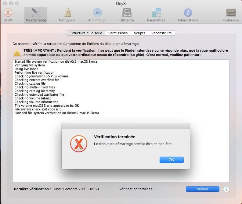 Onyx macOS Sierra reparer permissions