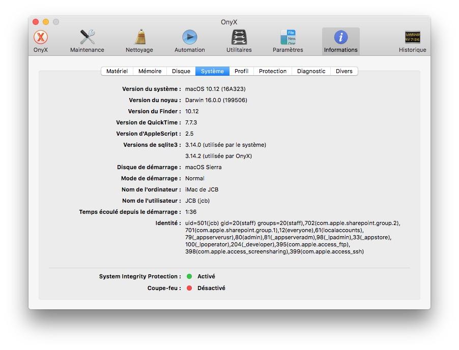 Onyx macOS Sierra systeme configuration