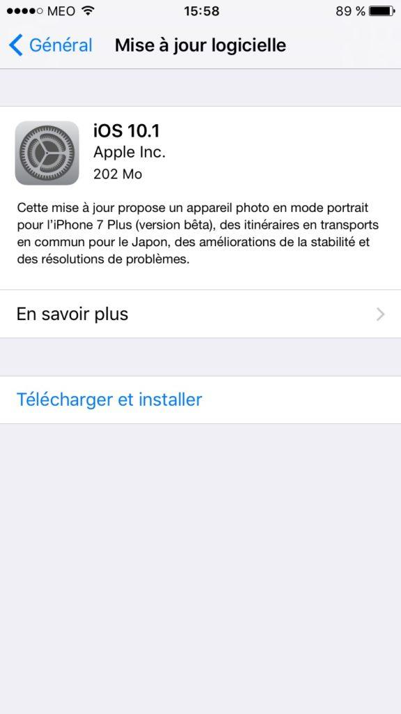 iOS 10.1 mise a jour ota