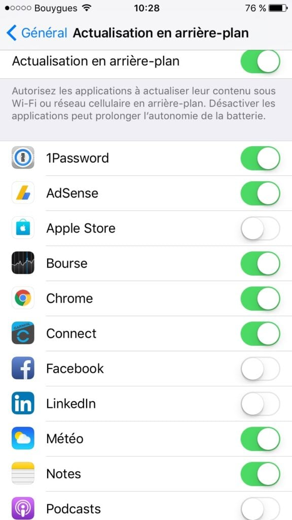ios 10 batterie actualisation arriere plan