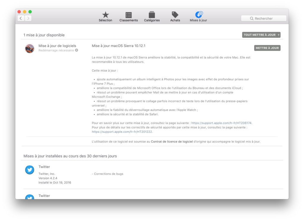macOS Sierra 10.12.1 mise a jour