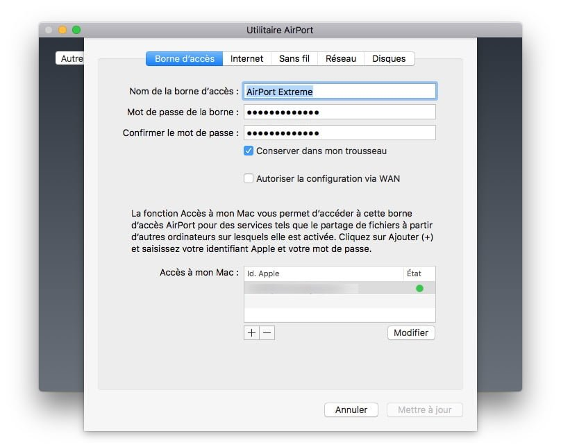 Apple airport menu borne acces