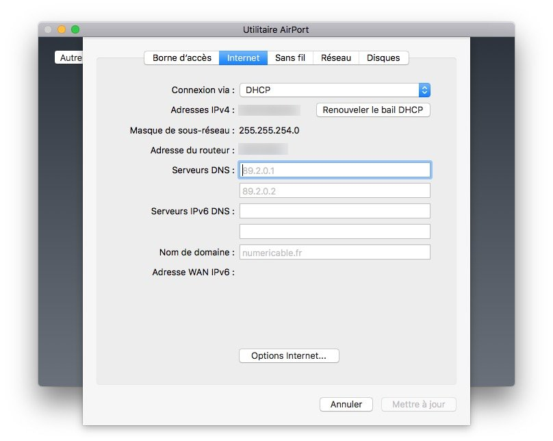 Apple airport menu internet