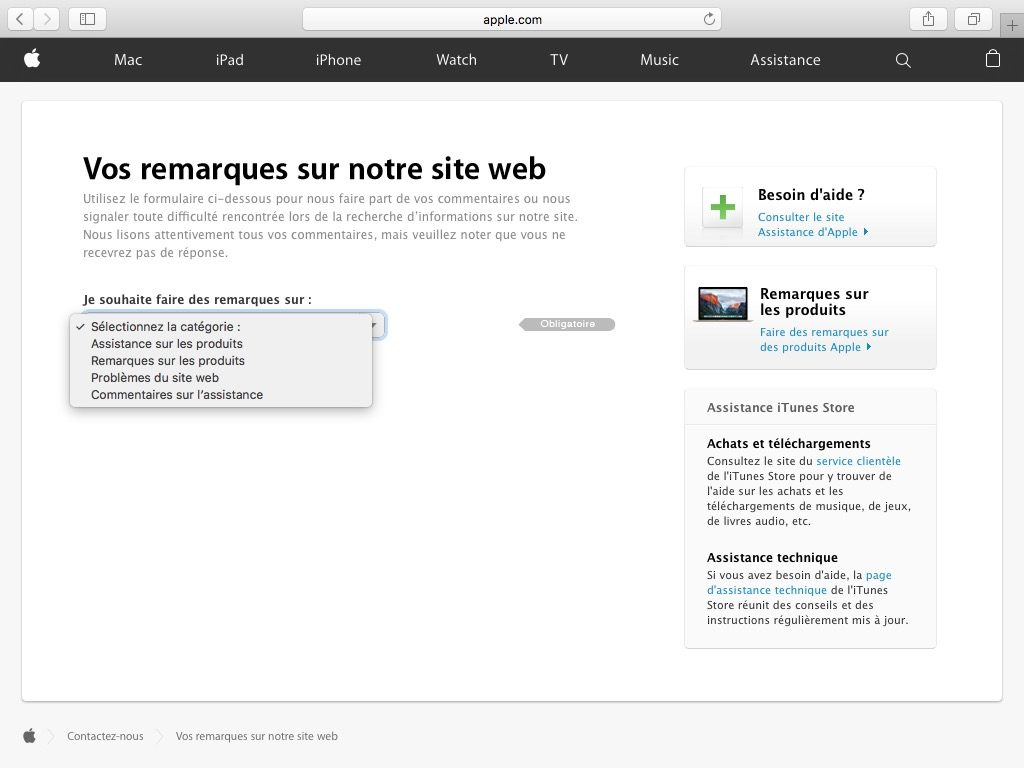 Contacter Apple remarques site web assistance