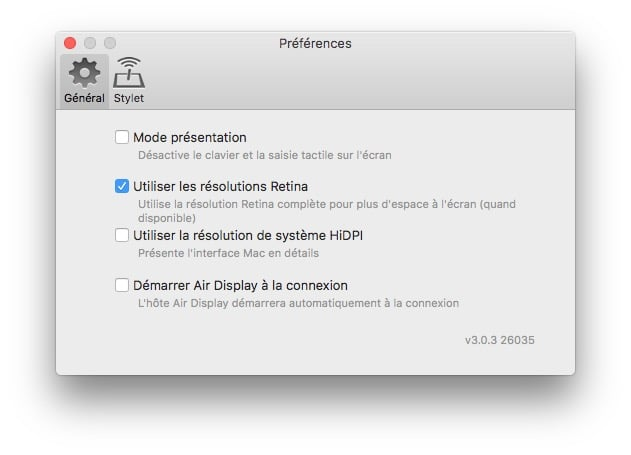 Utiliser un iPad en second ecran preferences air display