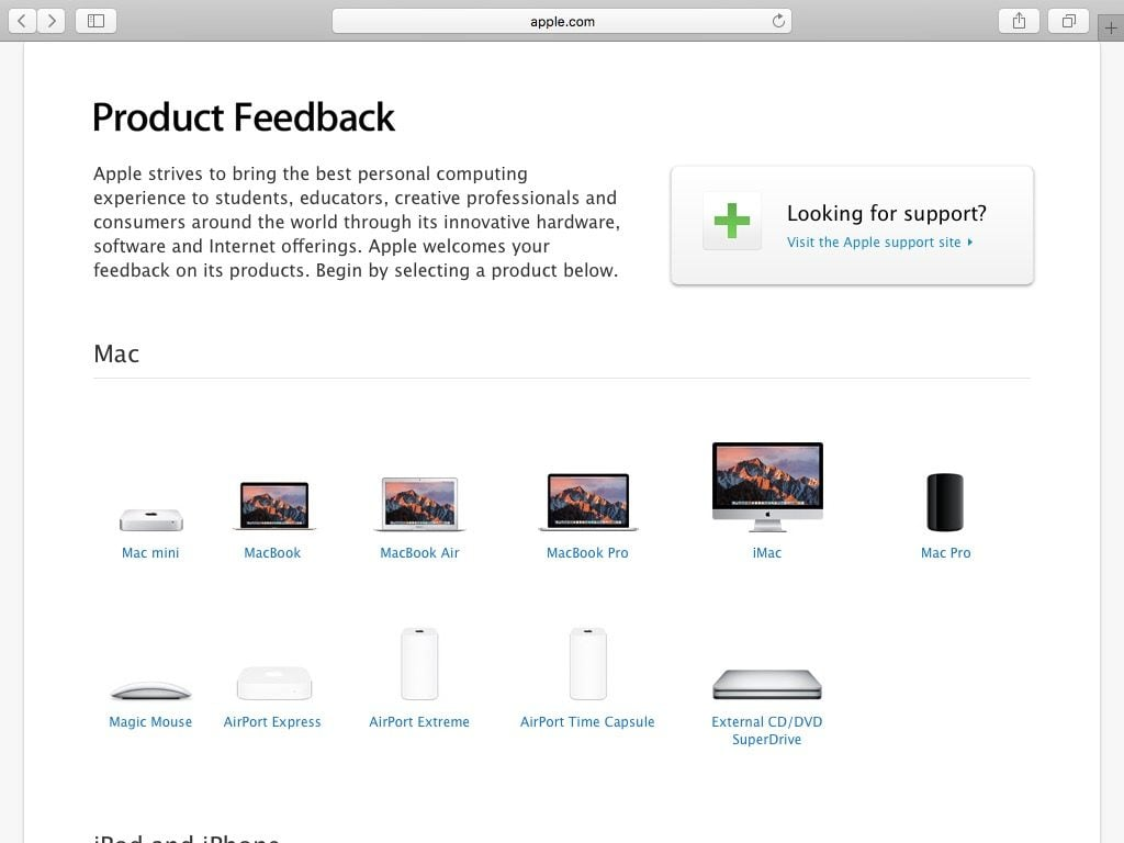 contacter apple product feedback choisir