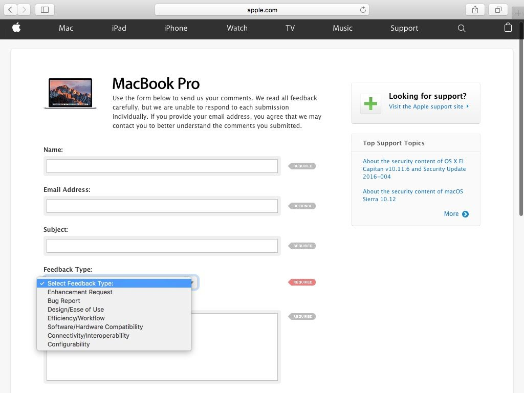 contacter apple remarques sur macbook pro