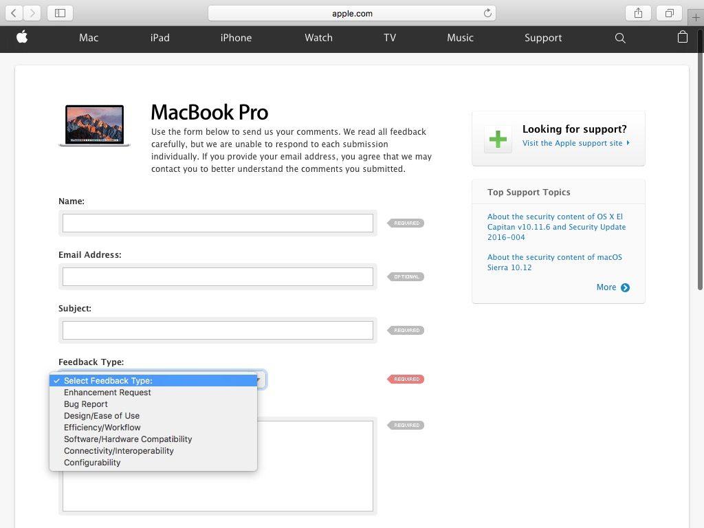 contacter apple remarques sur macbook pro