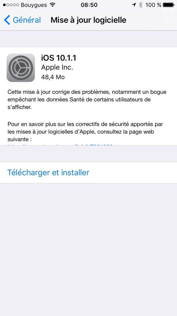 iOS10.1.1 mise a jour iphone