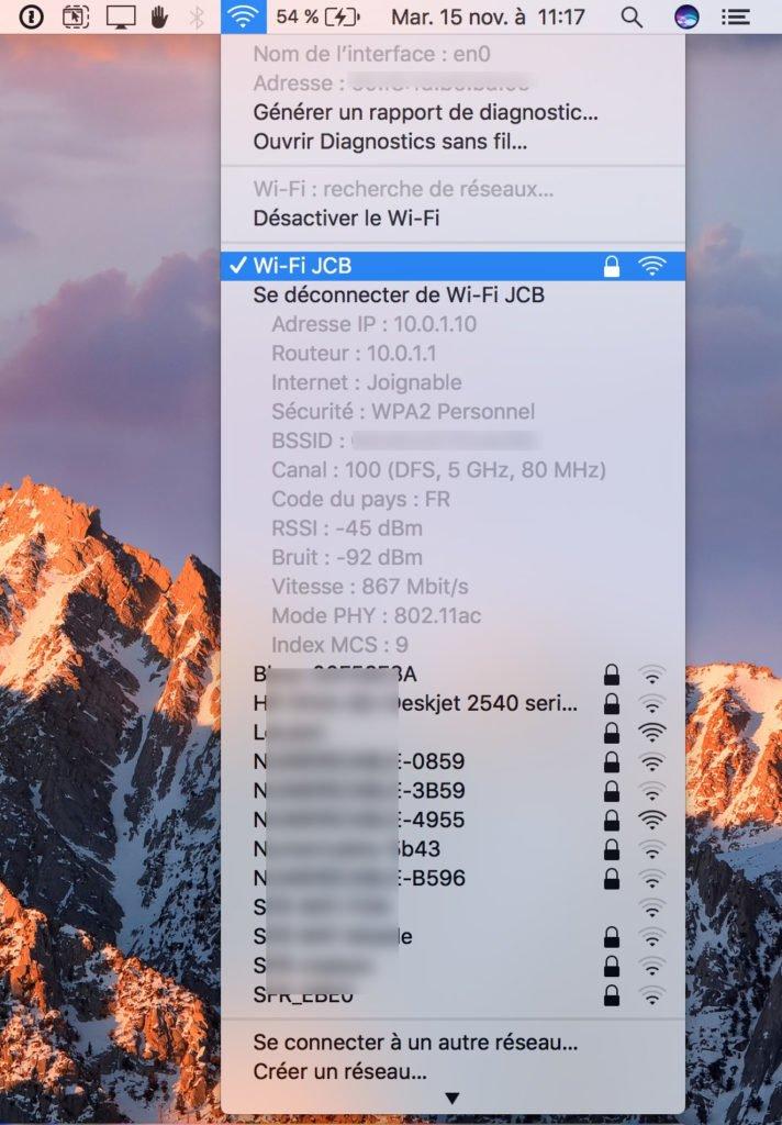 reseaux preferes WiFi sur Mac barre menus