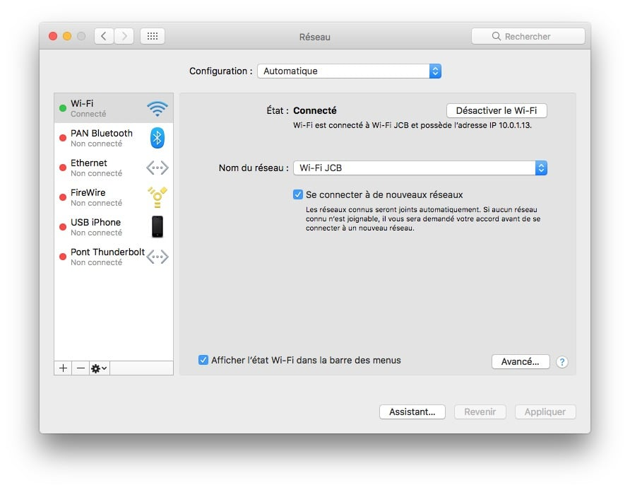 reseaux preferes WiFi sur Mac os sierra