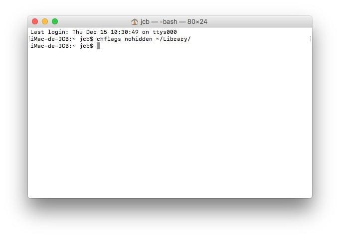 Afficher le dossier Bibliotheque sur macOS Sierra Terminal
