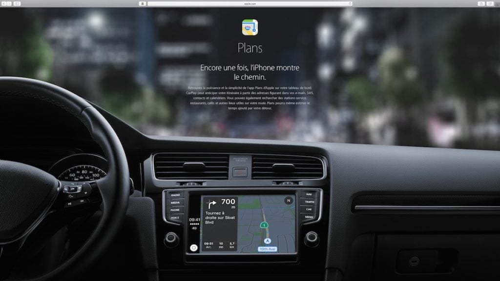 Apple Carplay plans navigation gps