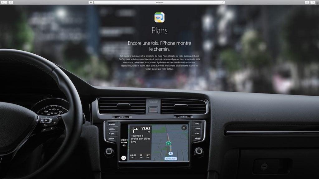Apple Carplay plans navigation gps