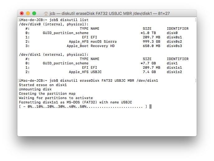 Formater sur Mac avec le Terminal fat32