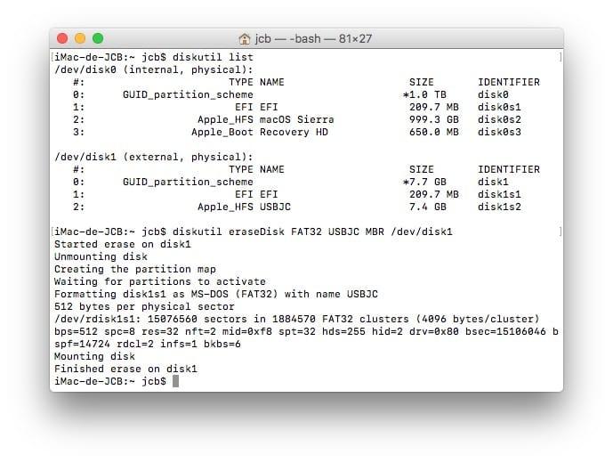 Formater sur Mac termine