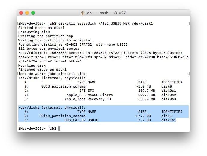 Formater sur Mac via le terminal macos