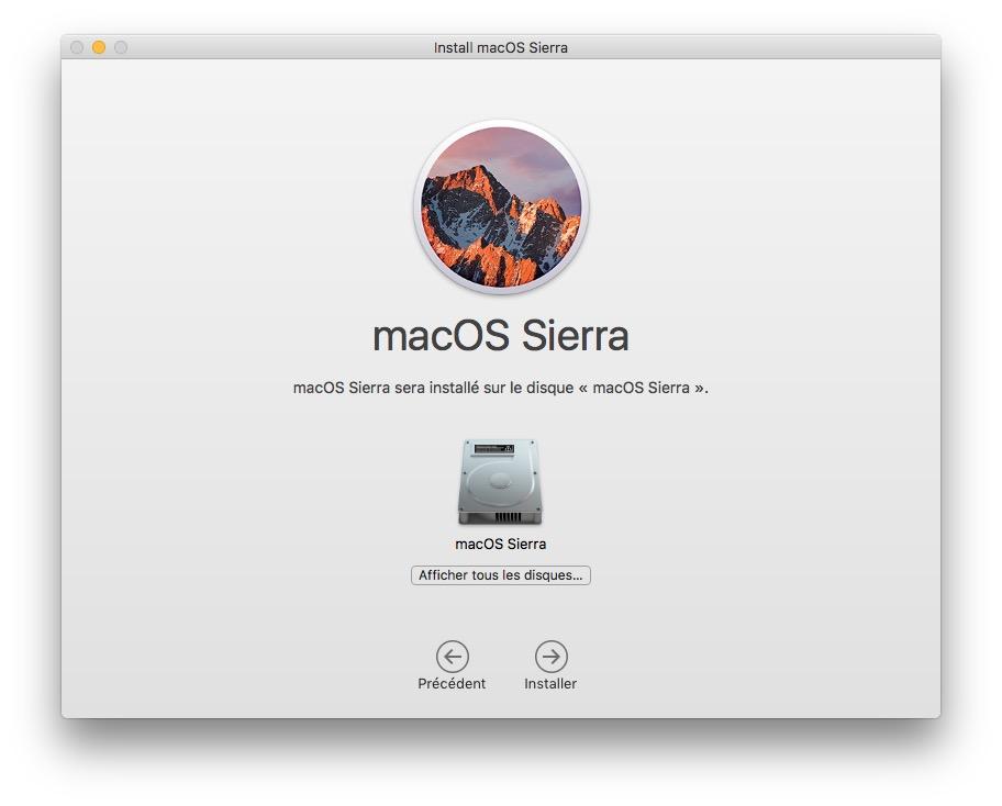 Installer macOS Sierra sur cle USB afficher tous les disques