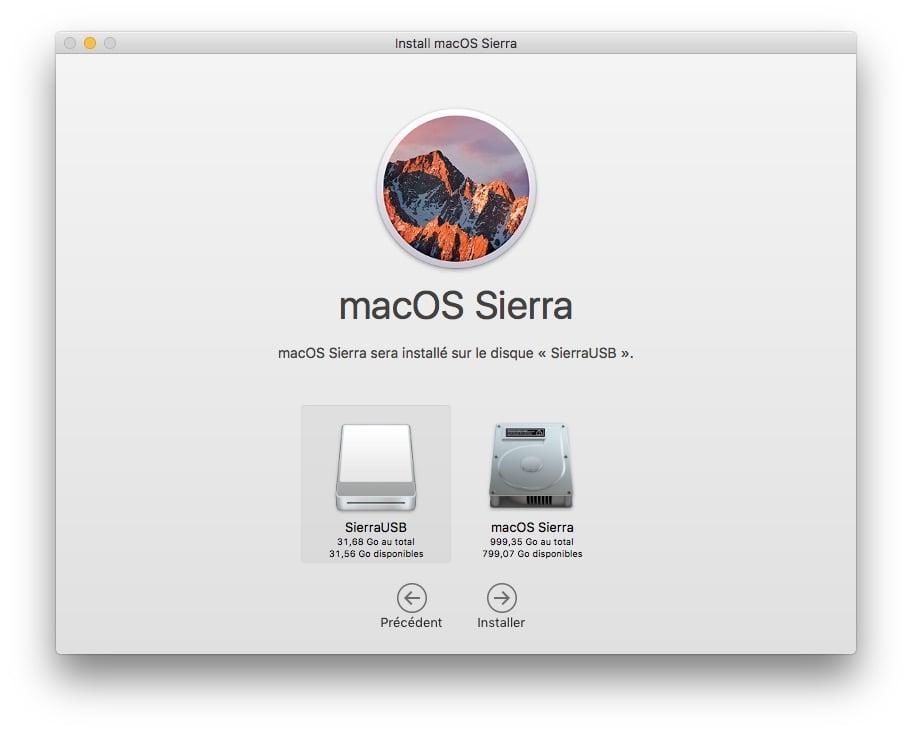 Installer macOS Sierra sur cle USB choix disque externe