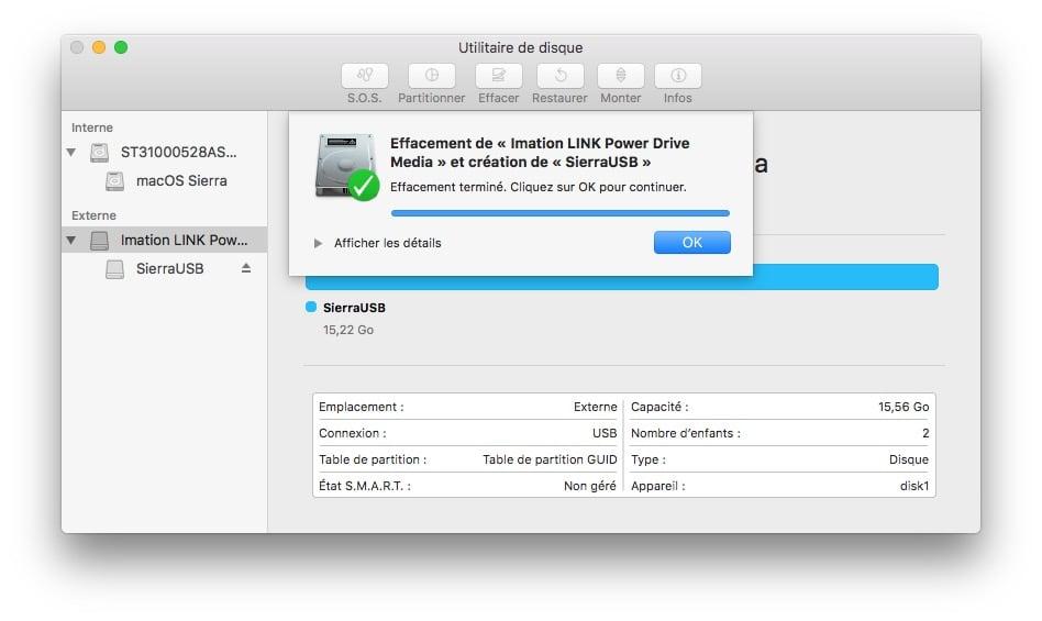 Installer macOS Sierra sur cle USB formatage