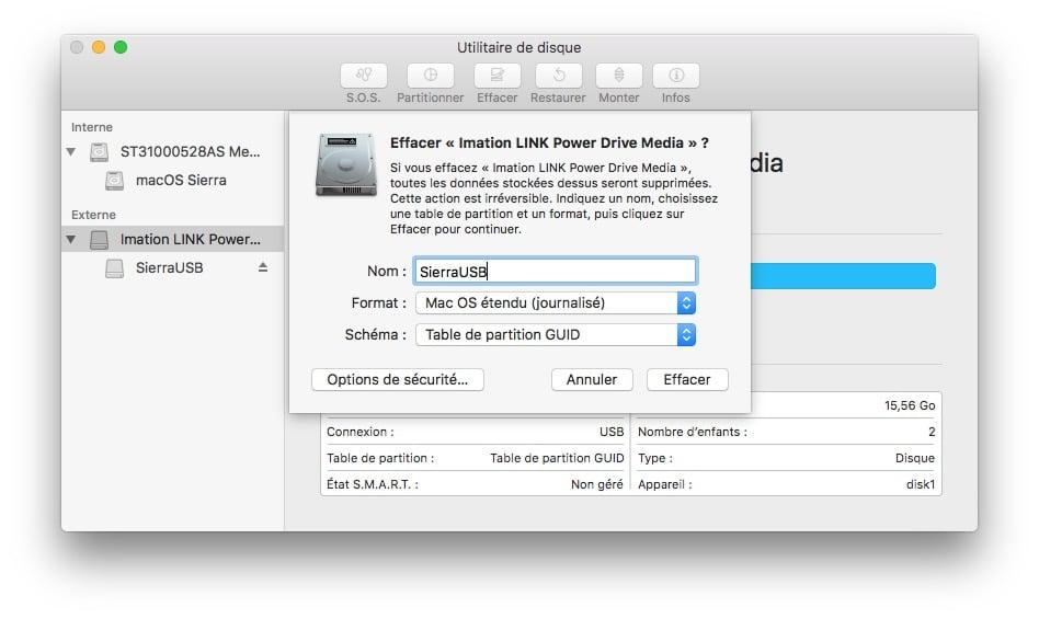 Installer macOS Sierra sur clé USB formater