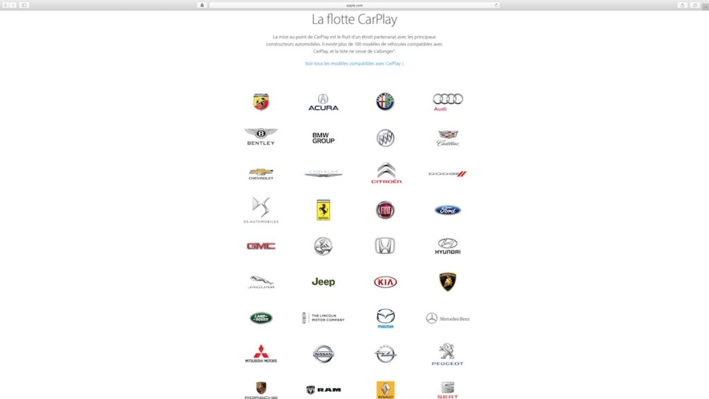 apple carplay liste constructeurs automobiles