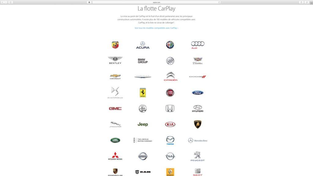 apple carplay liste constructeurs automobiles