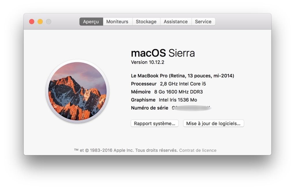 macos sierra 10.12.2 informations systeme