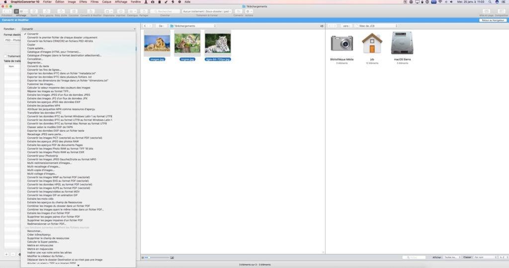 Convertir des images sur Mac traitement par lot