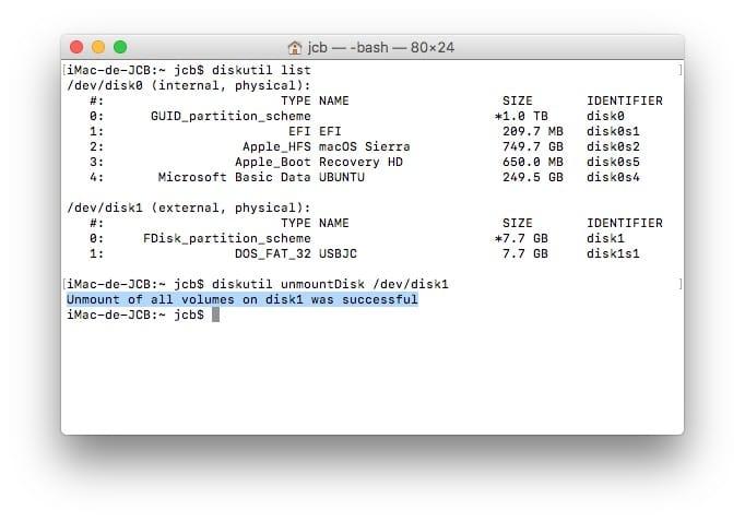 Dual boot macOS Sierra Linux unmount
