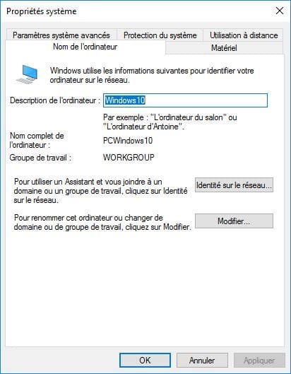 Creer un reseau entre un Mac changer nom group de travail windows 10
