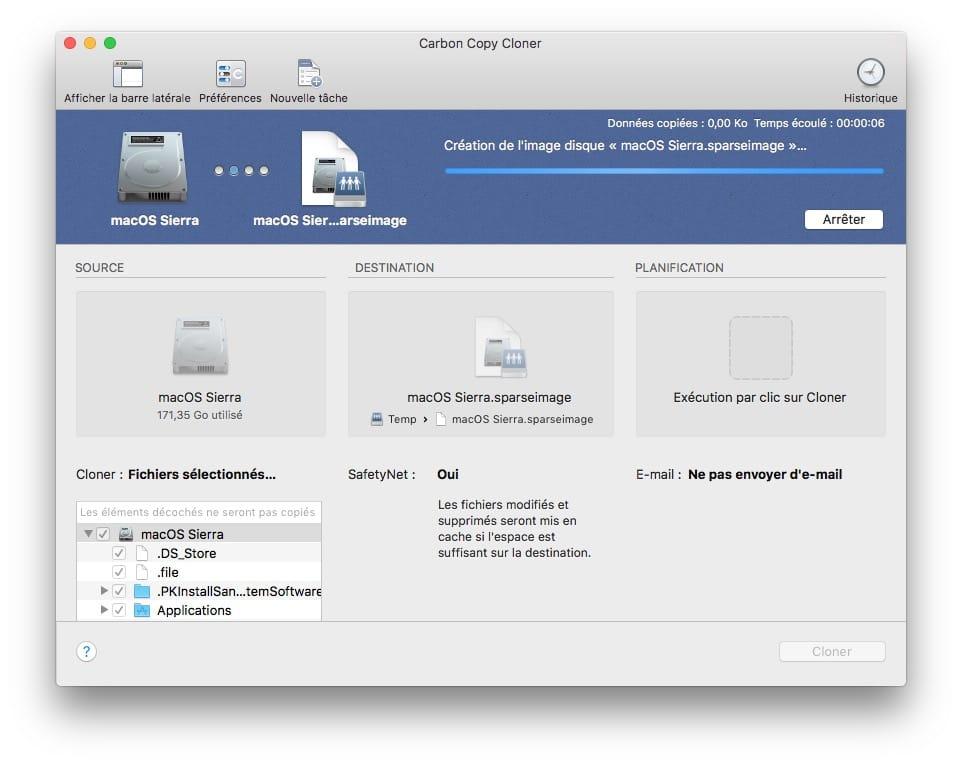 cloner macOS Sierra creation image disque en cours