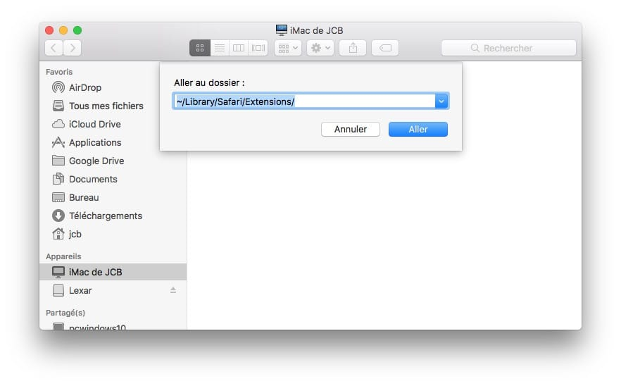 Supprimer une extension Safari mac library safari extensions