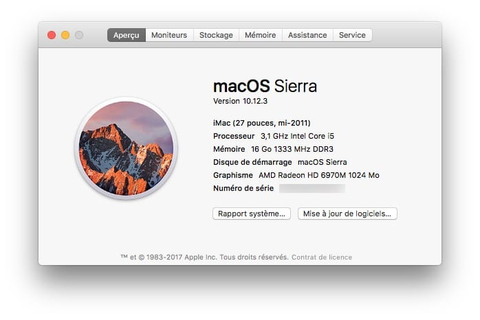 macOS Sierra 10.12.3 informations systeme